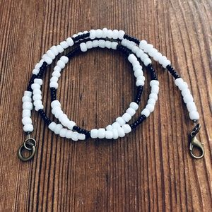 Men's Black and White Beaded Necklace,  Men's